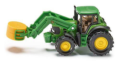 Siku 1379, Traktor mit Ballenzange, Metall/Kunststoff, Inkl. Ballen, Bewegliche Teile, Grün - John Spielzeug Deere Metall