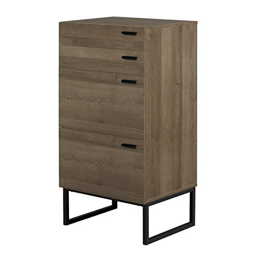 DEVAISE Nightstand with 1 Drawer, Steel Leg