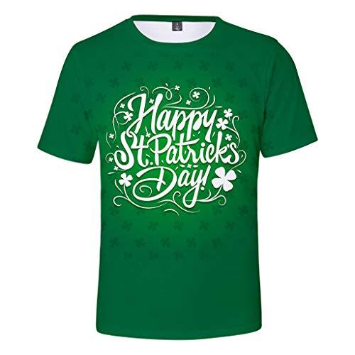 684b6c64 Camiseta St. Patrick's Day para Mujer de Trébol Estampado Remera Digital  Shirts de Verde Manga Corta Cuello Redondo T-Shirts de Casual Tops