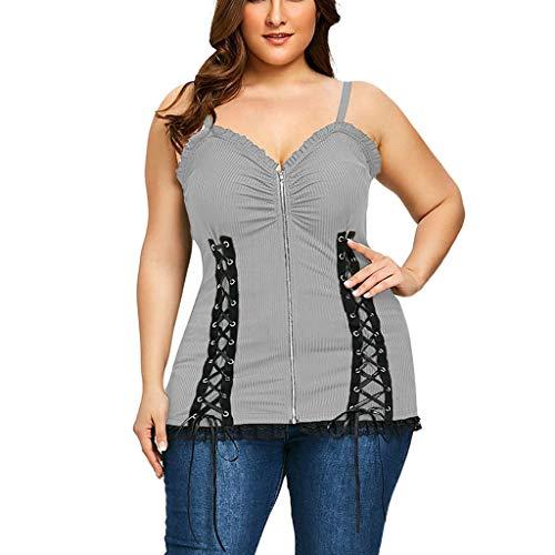 HULKY Chic Top Damen Sexy Rope Zipper Rüschen Schulter Lace Sling Weste Frauen Einfarbig Lässiges Plus Size Oberteile (grau,L5)