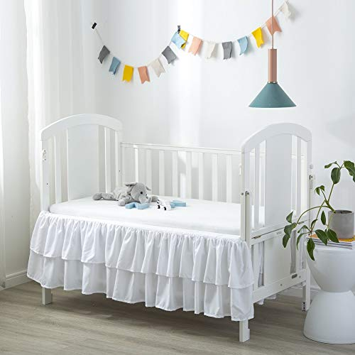 Komfor Crib Bed Skirt Dust Ruffle Double Layer Brushed Microfiber...