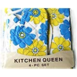 Xectes Kitchen 4 Pcs Set * Apron * Kitchen Towel * Oven Mitt * Pot Holder