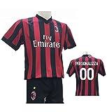 Completo Calcio Maglia Milan Personalizzabile + Pantaloncino Replica Autorizzata 2017-2018 Bambino (Taglie 2 4 6 8 10 12) Adulto (S M L XL) (6 Anni)
