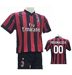 Idea Regalo - Completo Calcio Maglia Milan Personalizzabile + Pantaloncino Replica Autorizzata 2017-2018 Bambino (Taglie 2 4 6 8 10 12) Adulto (S M L XL) (6 Anni)