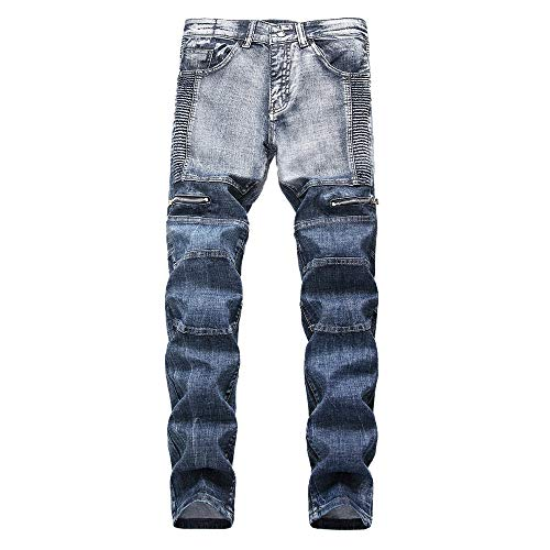 Geili Jeanshose Herren Lang Faltenwurf Wasserwäsche Jeans Hose Stretch Denim Hosen Männer Große Größen Slim Fit Straight Jeans Basic Reißverschluss Cargo Hose Freizeithose -