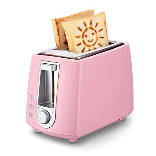Kylinkkx Toaster, 2-Scheiben-Toaster, Kleiner Mini-Toaster mit Aufwärm- / Auftau- / Aufhebefunktion für kleine und große Brotscheiben, herausnehmbares Krümelblech (Color : Pink)