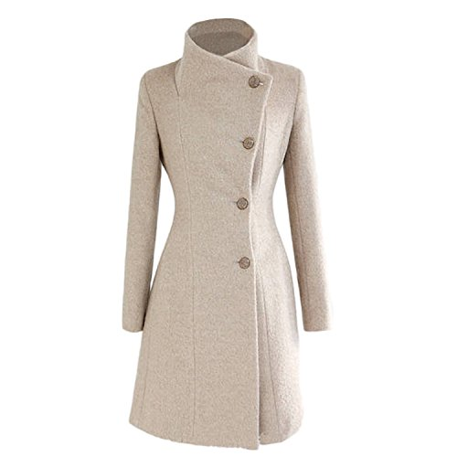 Nonbrand - Cappotto a doppio petto per donna, outwear, invernale, lungo, vintage, taglia XS, S, M, L Beige Medium