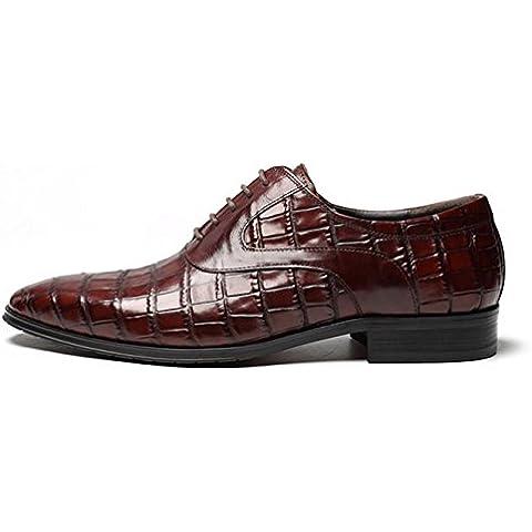 WZG zapatos casuales de los nuevos hombres de la primera capa de zapatos de cuero de los hombres de cuero zapatos de punta zapatos de la boda transpirable , wine red , 44