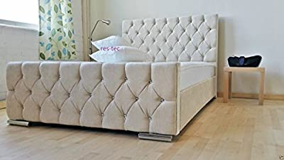 Florida Upholstered Chenille bed frame in different size available - cheap UK light shop.