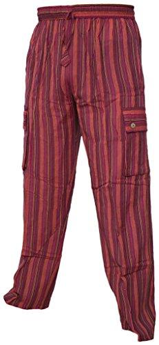 Leichte Baumwollhose, elastische Taille, Sommerhose mit Tasche Striped Red