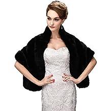 EnjoyBridal®Noir chaud hiver fourrure mariée Manteau Cape écharpe Boléro pour robe de mariaqe - TU - Noir