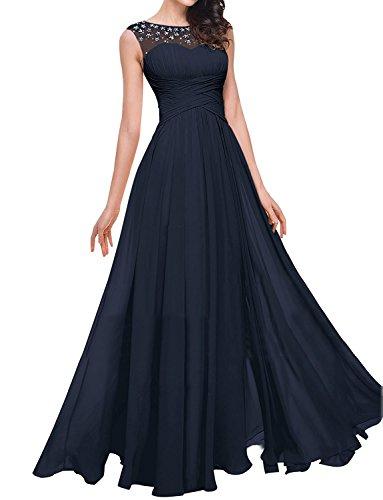 Aurora dresses Damen Abendkleider Lang Partykleider Transparenter Ausschnitt Festkleider Ballkleider Elegant Brautjungfer Kleider(Navy Blau ()