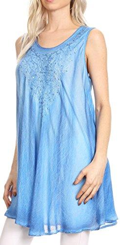Style de réservoir Sakkas Lana Ombre Tie Dye brodé Long Summer Haut | Couvrir Bleu