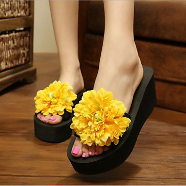 Donne'sscarpe piattaforma tessuto Flip Flop pantofole vestito blu / giallo / verde / rosa / viola / rosso / bianco / arancio US6.5-7 / EU37 / UK4.5-5 / CN37