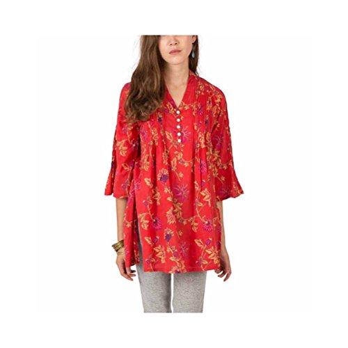 Zen*Ethic - Tunique Plissée Lea - Voile de coton Rouge
