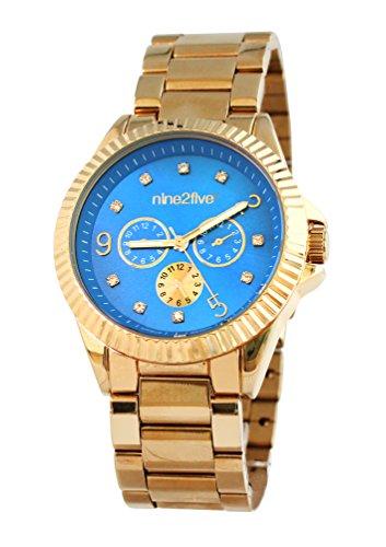 nine2five afcy07glaz pulsera de las mujeres de oro de acero inoxidable banda esfera azul reloj