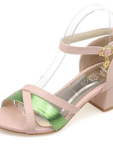LFNLYX Chaussures Femme-Habillé / Décontracté / Soirée & Evénement-Bleu / Vert / Rose / Blanc-Gros Talon-Talons / Bout Ouvert-Sandales- Pink