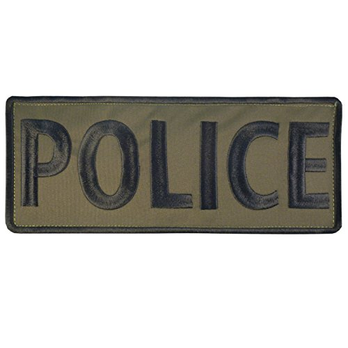 POLICE Large XL Olive Drab OD Green 10x4 inch SWAT Chest Taktisch Tactical Embroidered Nylon Touch Fastener Aufnäher Patch -