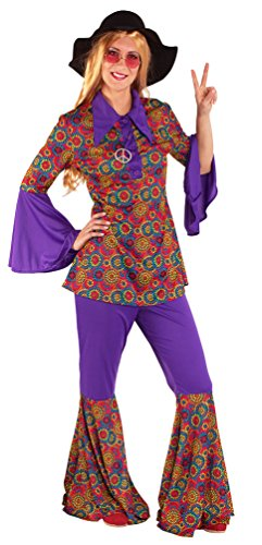 Karneval-Klamotten Hippie Kostüm Damen Flower-Power Peace Oberteil Schlaghose Stirnband 60er Jahre Damen-Kostüm Fasching Größe 44/46