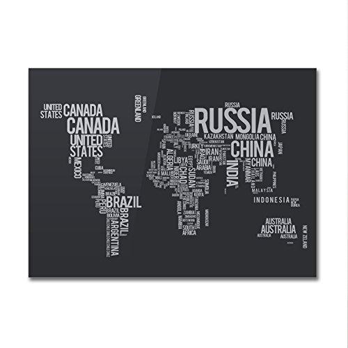 Poster World Map Typography - su carta lucida fotografica - Formato, 30cmx40cm