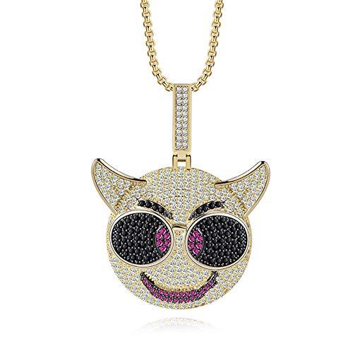 Qiulv Männer Anhänger, Emoji Hiphop Anhänger Iced Out Brille Zeichentrickfigur Anhänger Gold Überzug Kette Lustig Halskette Inlay Zirkon Schmuck Zum Geburtstag Valentine Geschenk