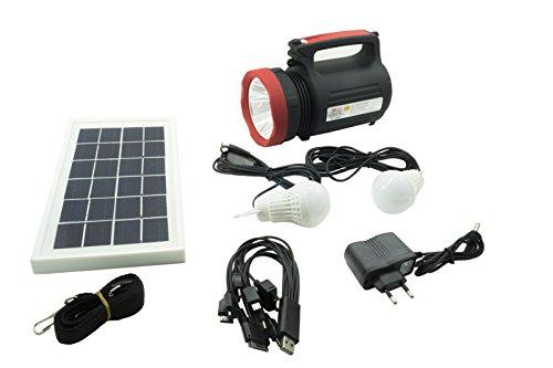 Kit energia solare lampada led pannello torcia batteria usb