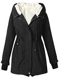 Bealeuy Damen Kurze Pelzkragen Mantel mit Reißverschluss aus Baumwolle Frauen Winter warmer Frauen Winter beiläufige lange Hülsen feste mit Kapuze obere dickere Outwear Jacken Mantel