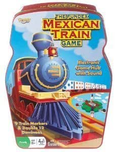 Ideal Mexican Train Game with Double 12 Color Dot Dominoes Set and Electronic Sound Effect Game Hub in a Tin Storage Container - POOF-Slinky 0X5454 by Ideal TOY (English Manual)