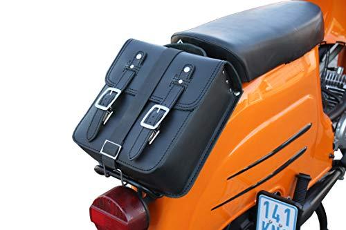 Kleine Leder Hecktasche mit Schnellverschluss Gepäckträger Tasche Packtasche Schwarz für Simson Schwalbe Sperber Star Spatz KR50 KR51 SR4
