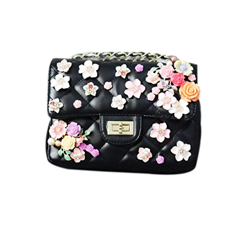 QPALZM 2017 Handgemachte Blumen Eingelegt Mit Diamanten Schulterbeutel Kurierbeutel Kettenbeutel Frauen Kleine Quadratische Tasche Black