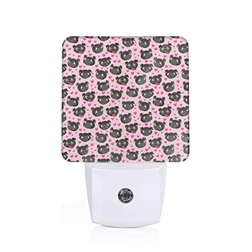 Led Night Light Black Pugs And Hearts Pink Auto Senor Dusk to Dawn Night Light Plug in for Baby, Kids, Children's Room Black Night Light