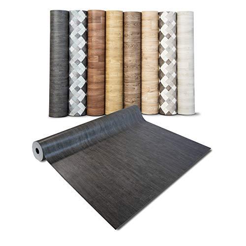 casa pura® CV Bodenbelag Vancouver - extra abriebfester PVC Bodenbelag (geschäumt) - Eiche Vintage Dunkel - edle Holzoptik - Oberfläche strukturiert - Meterware (200x100 cm)
