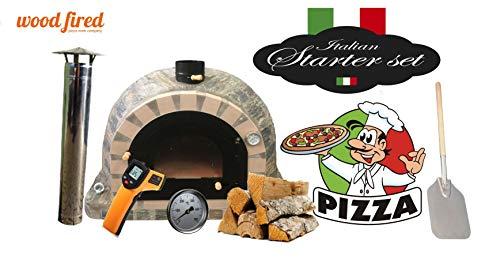 Pro Deluxe Stone Wood Fired Pizza Oven Starter Kit, Cream Arch, Black Window Door, 100cm x 100cm