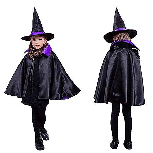 MMTX Capa y Sombrero de Bruja para Fiesta de Disfraces de Halloween para niños, Disfraces de Disfraces de Disfraces y Disfraces de Mago de Doble Cara para niños y niñas (Morado/Negro)