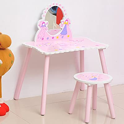 HOMCOM Girls Pink Wooden Kids Dressing Table & Stool Make Up Desk Chair Toys Fairy Dresser Play Set w/ Mirror - inexpensive UK light store.