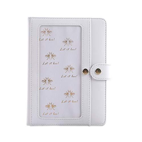LKIHAH Hardcover Notizbuch,PU Notebook 32K Hardcover Magnetschnalle Einfügen Notebook Notizblock Einfaches Office-Buch,White