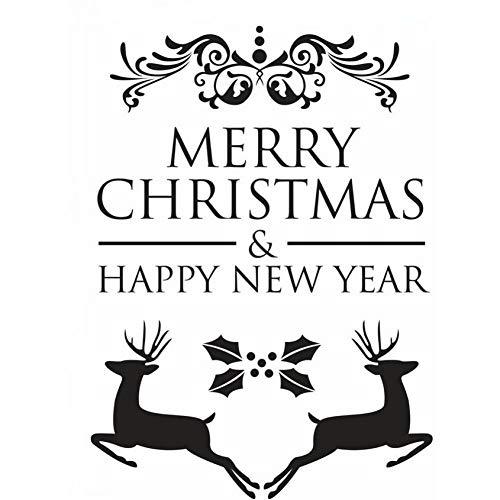 Hyiiw Feliz Navidad Etiqueta De La Pared Calcomanía De Pared De Vinilo De Ciervo Milu Extraíble Ciervo De Navidad Mural De Pared Decoración Del Hogar Calcomanía De Vacaciones57X79 Cm