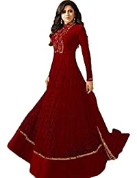 Women's Net Red Embroidered Long Semi-Stitched Party Wear Salwar With Dupatta(M12032)