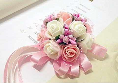 westeng Handgelenk Blumen Hochzeit Party Ball Kleid Braut Brautjungfern Corsage Bouquet Perlen Dekorative Schleife, 1PC 3.5cm * 6cm rose