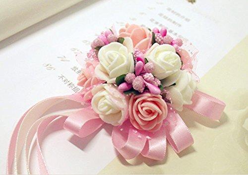 Wimagic 1X Hochzeit Armband Dekoration Garland Blumen Handgelenk Blume Braut Brautjungfern Seide Corsage mit Ribbon Party Prom Hand Dekoration Size Einstellbar (Rosa) (Ribbon Blumen)