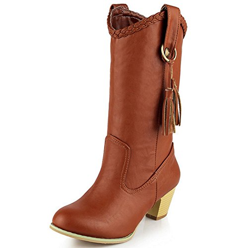TAOFFEN Damen Mode Blockabsatz Schuhe Mitte der Wade Die Fransen Stiefel Fransen Stiefel Gelb