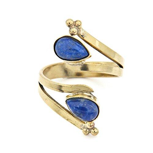 (mantraroma Ring Messing golden Lapis Lazuli blau Stein verstellbar (12))