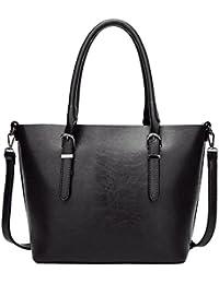 PB-SOAR Damen Vintage Elegant Henkeltasche Schultertasche Ledertasche Shopper Umhängetasche Handtasche