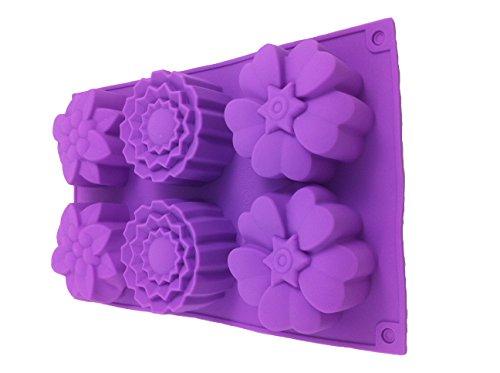 6 Frühlingsblumen Blumen Silikonform Backform Schokoladenform Pralinenform Cupcake Keks Kuchen Basteln Backen Verzieren Blumen Formen Eiswürfelform von ROYAL HOUSEWARE