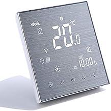 Qiumi Termostato Wifi para calefacción individual de calderas de gas/agua funciona con Amazon Alexa, Google Home IFTTT, Contacto seco 5A 220V Innovación Panel cepillado(Brillo ajustable)