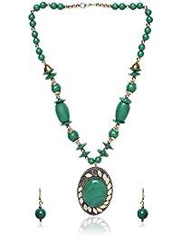 Shopolica Green Metal Strand Necklace Set For Women (26)