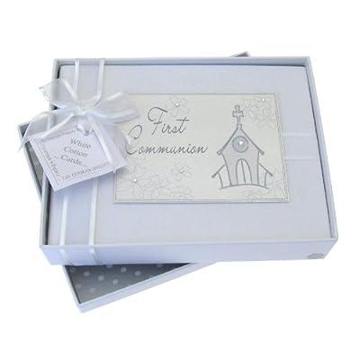 White Cotton Cards FC1S - Álbum de fotos para primera comunión, diseño de iglesia
