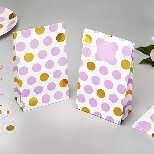 Papiertüten Punkte lila gold 20 x 12 x 6 cm 5 Stück - Geschenktüten Hochzeit Candy Bags Kindergeburtstag Mitgebsel Kinderparty Paper Bags Candy Bar Bonbontüten Süßigkeiten-Tüten Dots lila gold (Lila Candy Und Gold)
