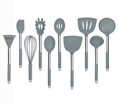 Set di utensili da cucina in silicone in nylon Core e manico in acciaio INOX cappotto con silicone per pentole antiaderenti strumenti di cottura utensili da cucina set di 9grigio