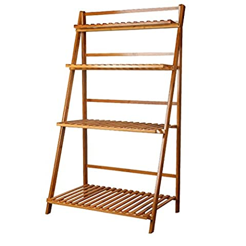 4-Tier bamboo flower stand Foldable balcony plant stand Multi-function shelves ( Size : 70cm )